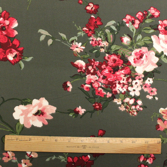 Olive Green Red Pink and White Floral Double Brushed Poly Spandex Knit, 1 yard