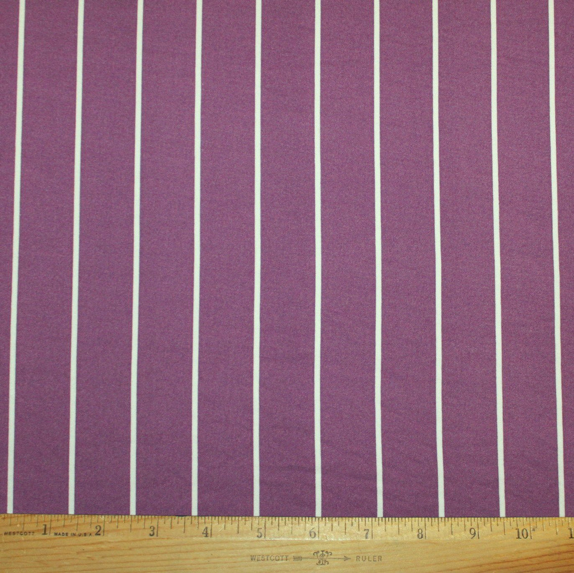 Plum and White Vertical Stripe Double Brushed Poly Spandex Knit, 1 yard
