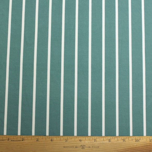 Seafoam Green and White Vertical Stripe Double Brushed Poly Spandex Knit, 1 yard
