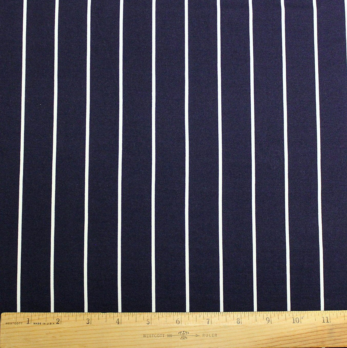 Navy Blue and White Vertical Stripe Double Brushed Poly Spandex Knit, 1 yard