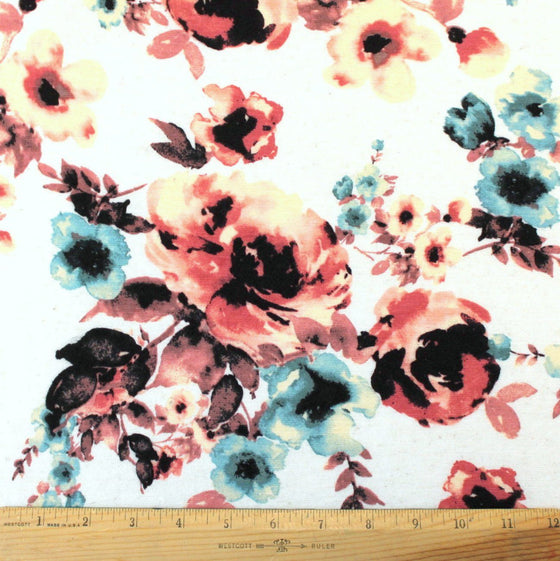 Cream Mauve and Teal Floral Rayon Linen Spandex Jersey, 1 Yard