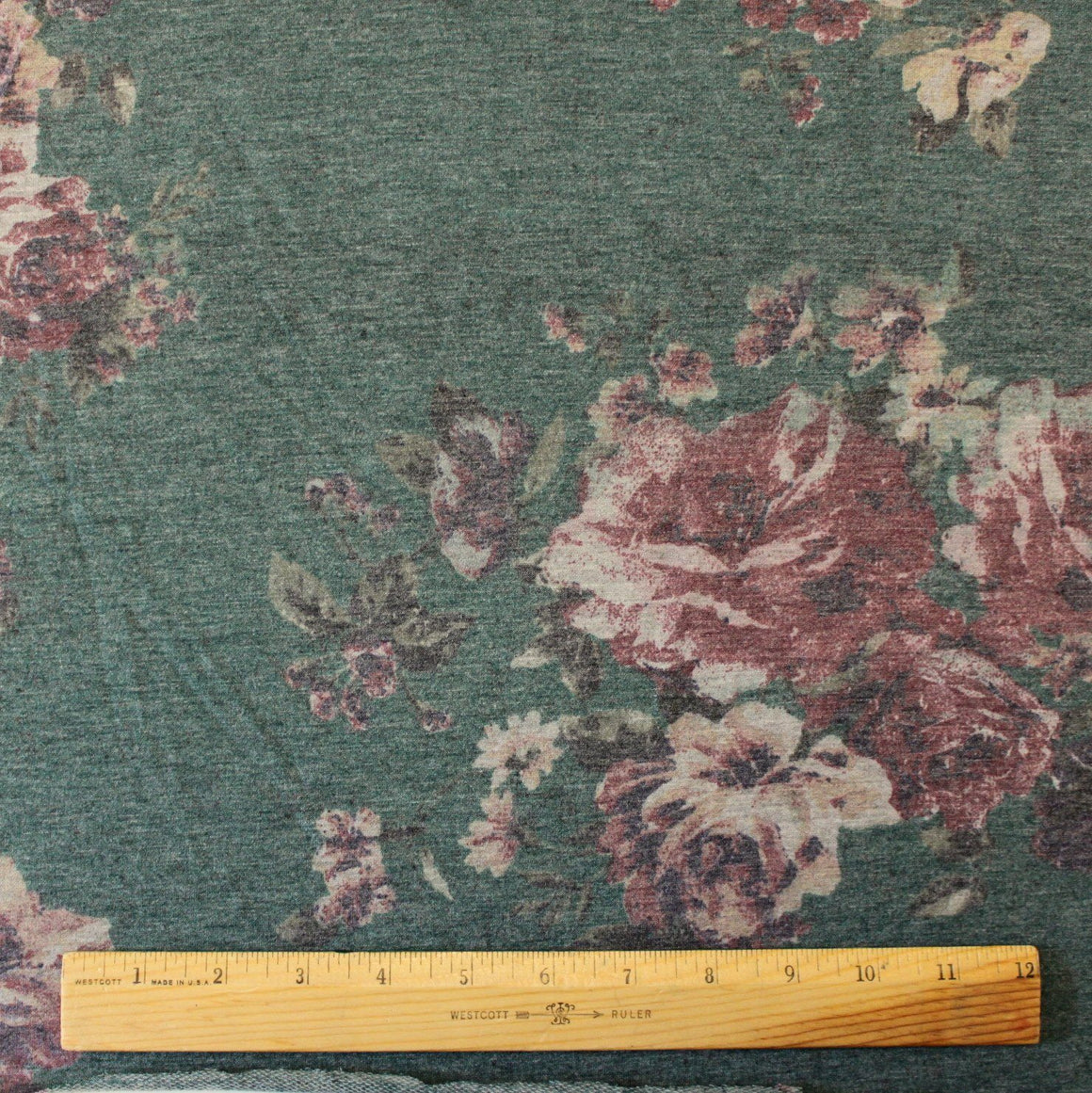 Hunter Green Burgundy and Cream Floral French Terry Knit Sweatshirt Fabric, 1 Yard