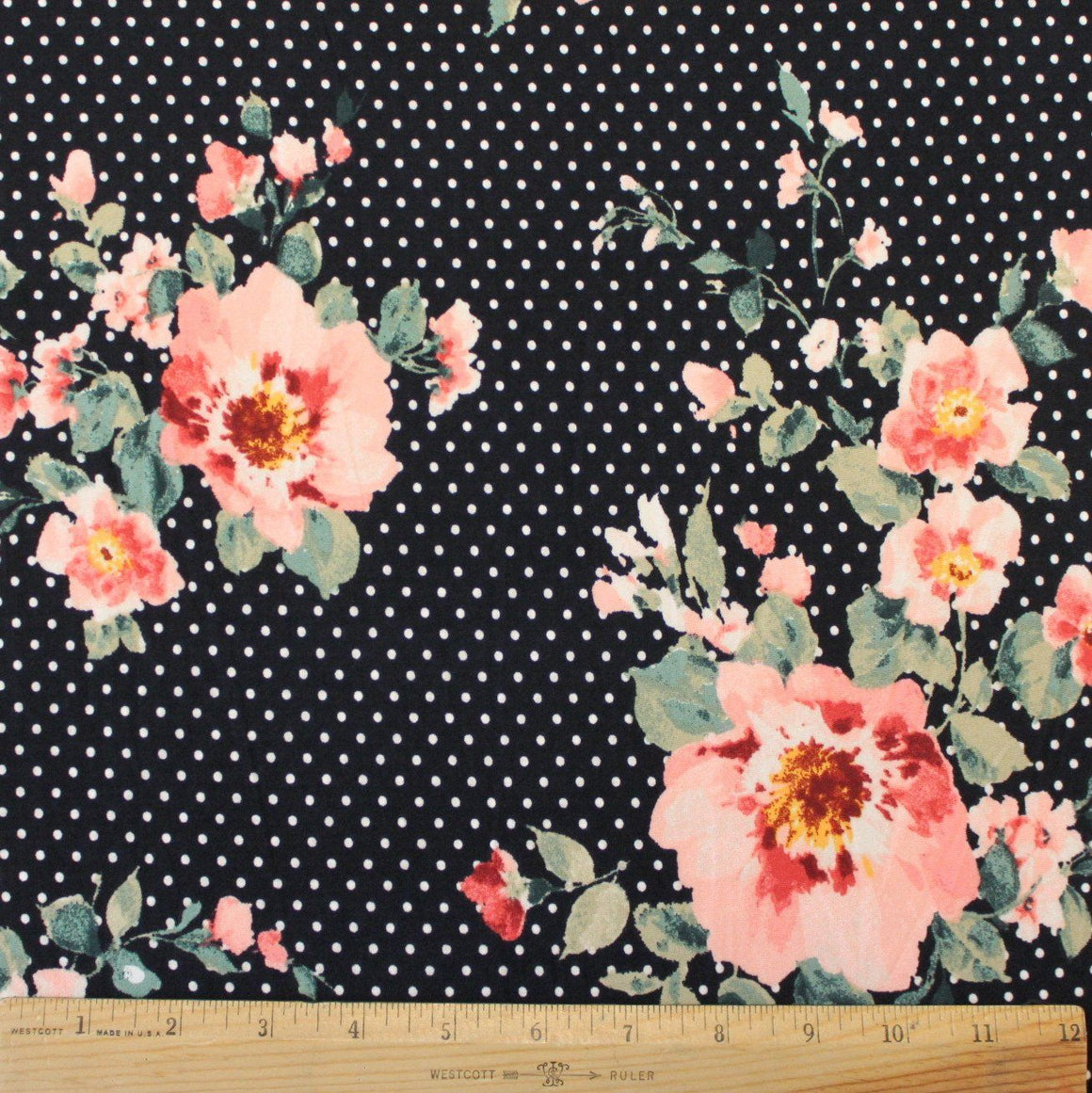Black Peach Green Dot Floral Brushed Poly Fabric