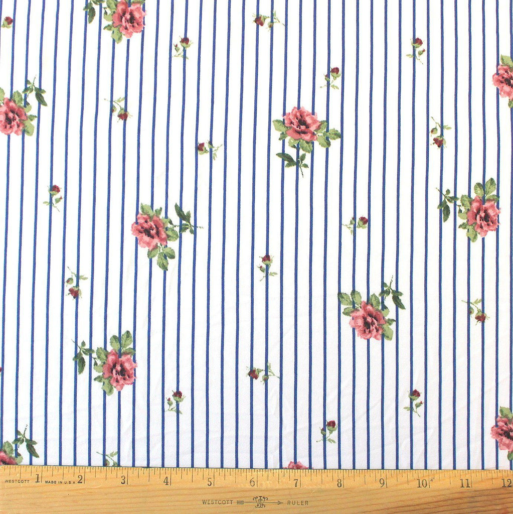 Royal Blue Mauve Pink and Green Vertical Stripe Floral Double Brushed Poly, 1 Yard