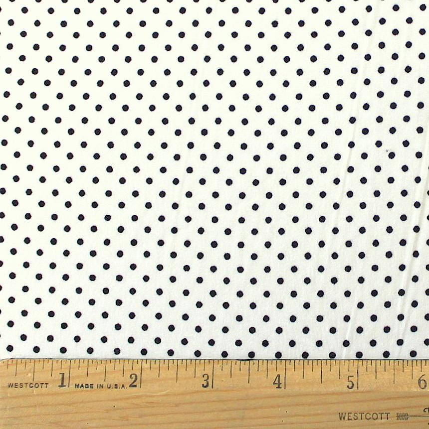 Cream and Black Pin Polka Dot Double Brushed Poly, 1 Yard