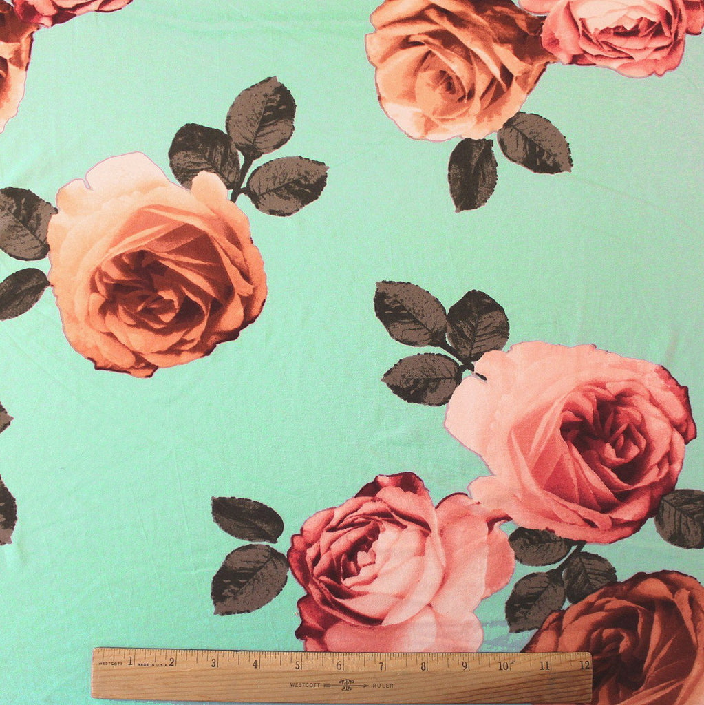 Mint Peach and Burgundy Large Floral Double Brushed Poly, 1 Yard