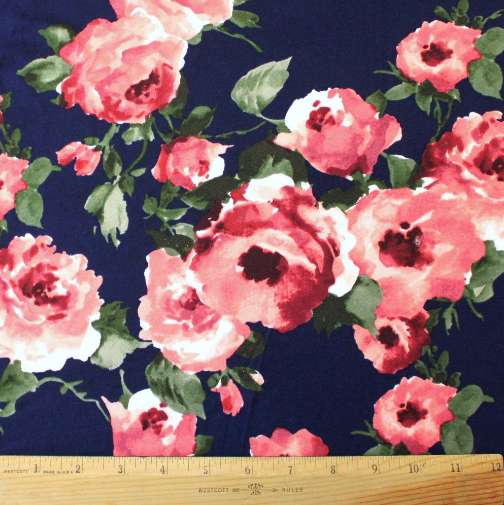 Navy Blue Coral and Burgundy Floral Double Brushed Poly, 1 Yard