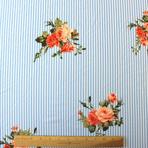 Light Blue Coral Peach and Green Vertical Stripe Floral Double Brushed Poly, 1 Yard