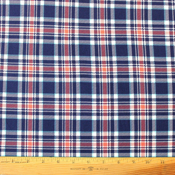 Navy Blue Coral and White Plaid Double Brushed Poly, 1 Yard