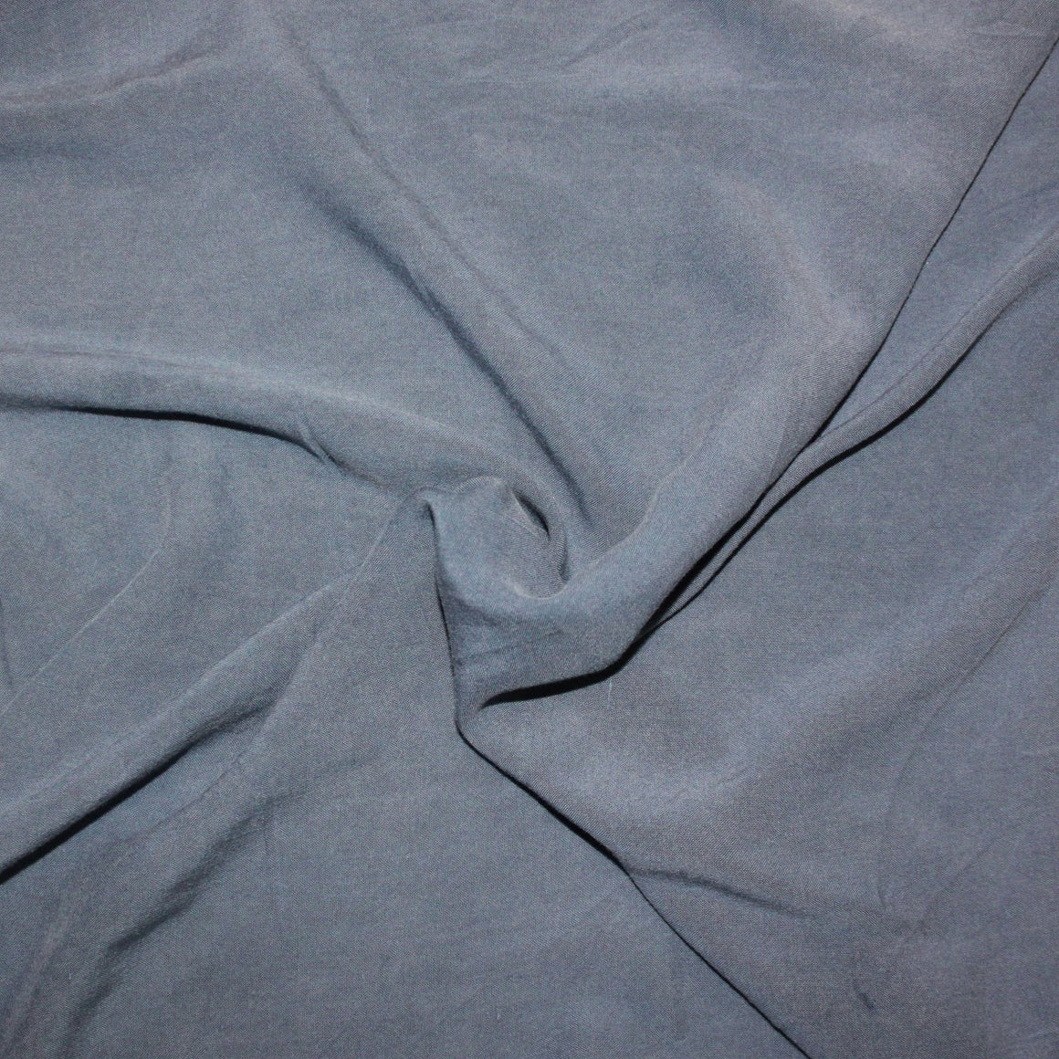 Solid Dusty Slate Blue Sand Washed Rayon Challis, 1 Yard