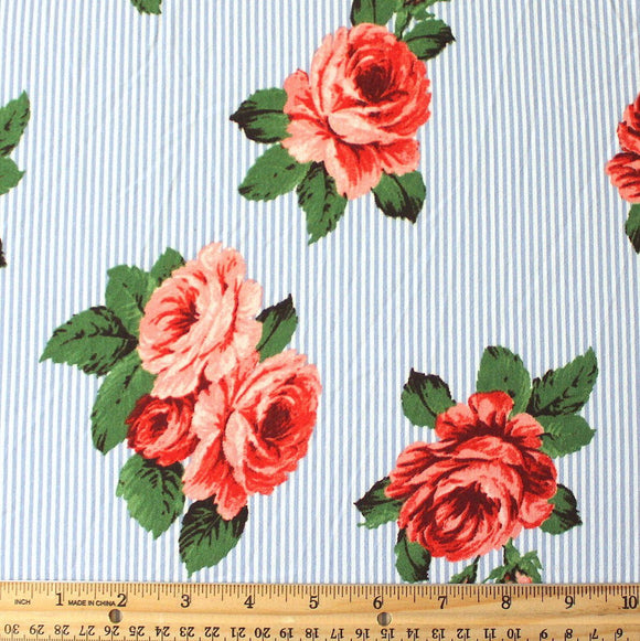 Light Blue Red Coral and Green Vertical Pin Stripe Floral Double Brushed Poly, 1 Yard