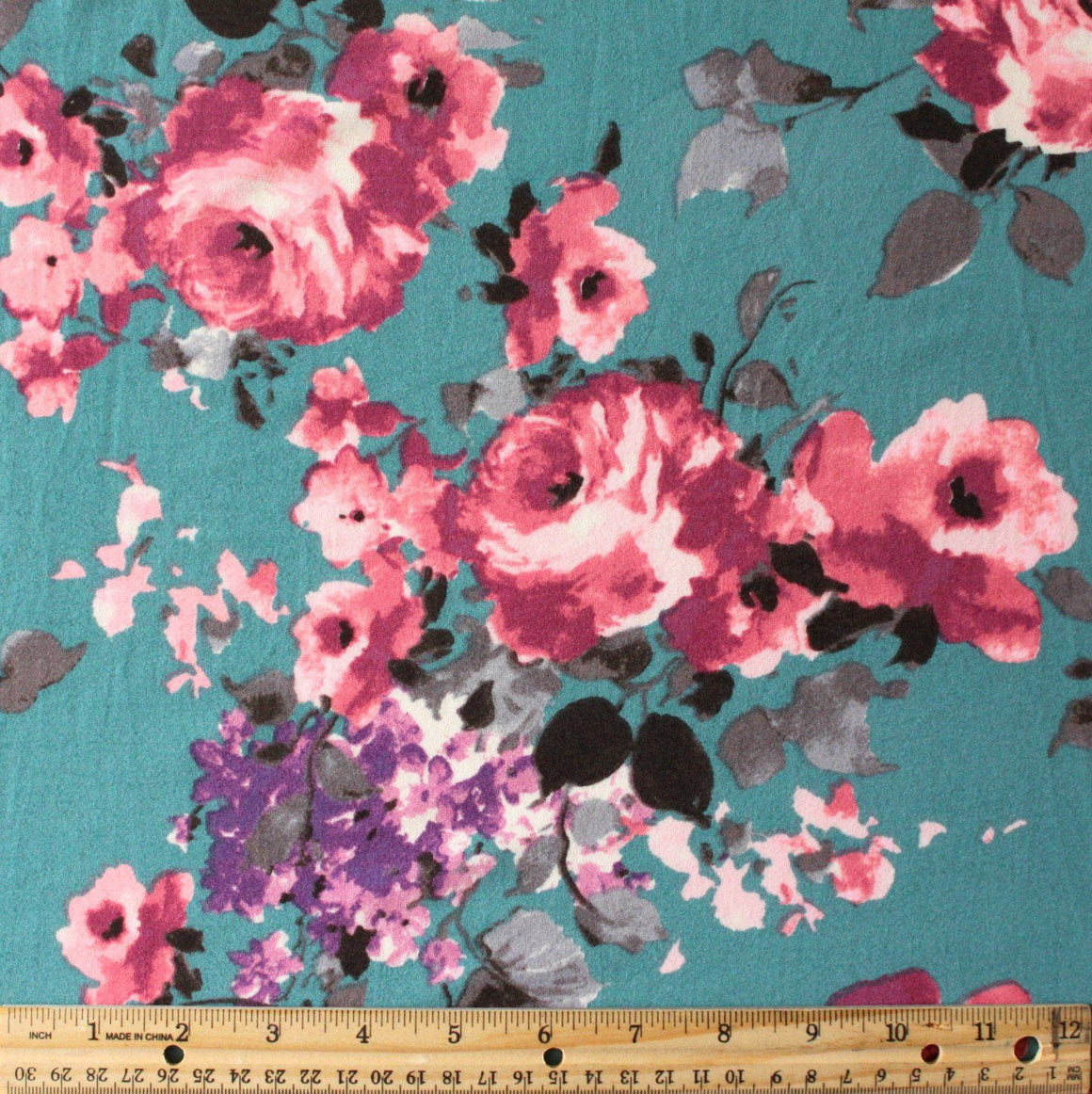 Deep Seafoam Magenta Purple and Grey Floral Double Brushed Poly Spandex Knit, 1 yard