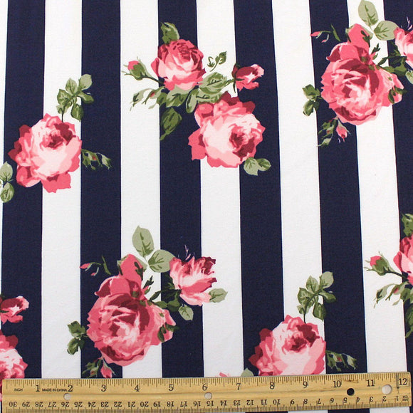 Navy Blue Blush Pink Burgundy and Green Floral Vertical Stripe Double Brushed Poly, 1 Yard