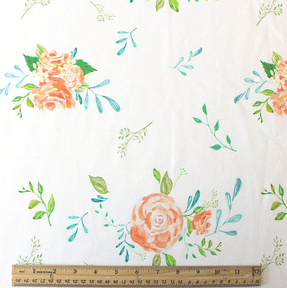 Peach Teal Green and Ivory Floral 4 Way Stretch Jersey Knit Fabric, Peachy Summer Floral by Elise Peterson for Club Fabrics