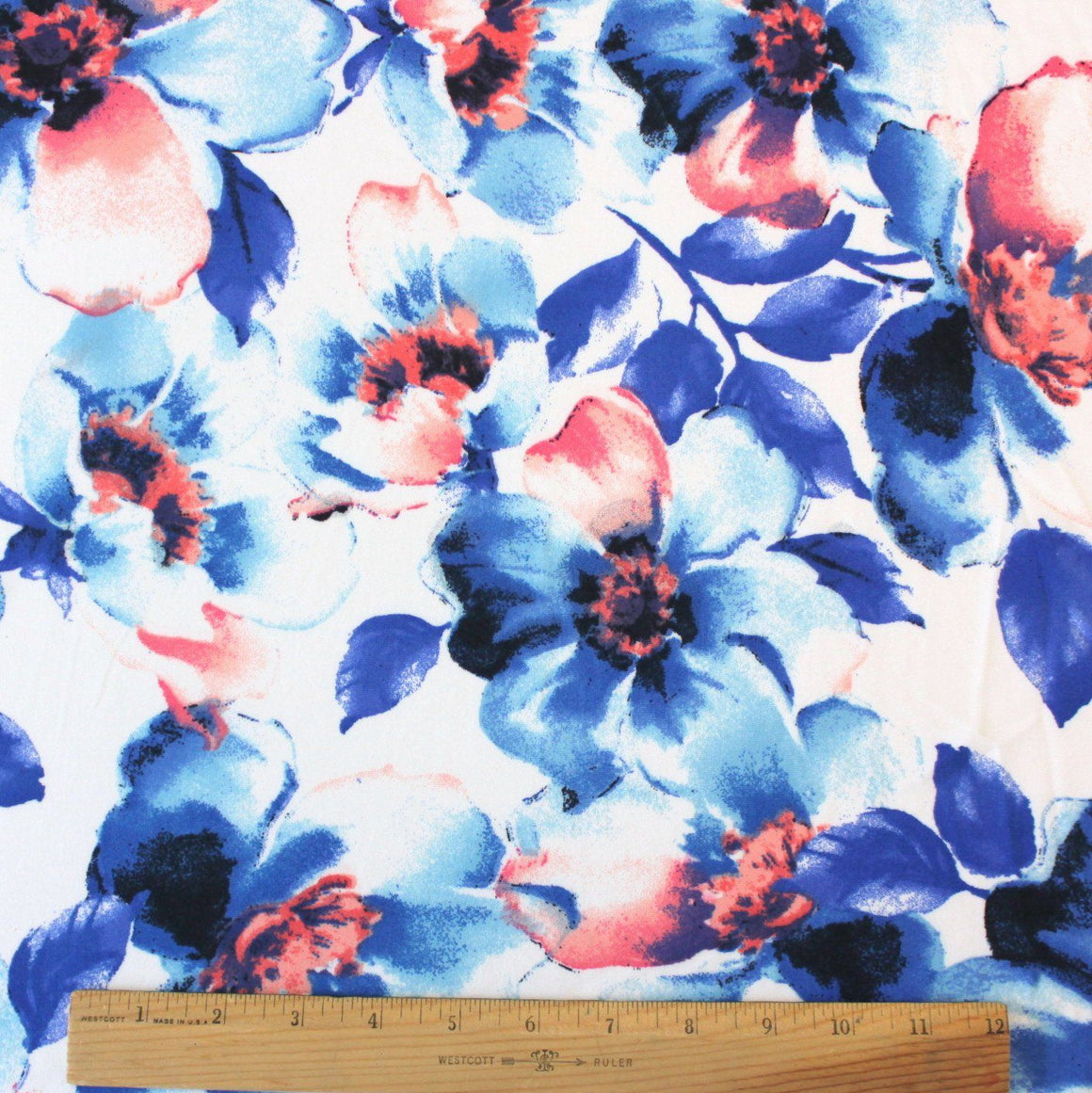 Royal Blue Coral and White Large Watercolor Floral Double Brushed Poly Spandex Knit, 1 yard