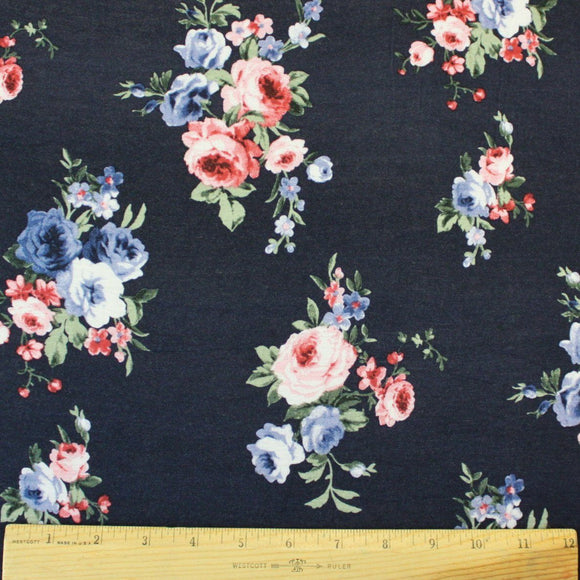Deep Navy Blue Pink and Periwinkle Floral Rayon Spandex Jersey Knit Fabric, 1 Yard