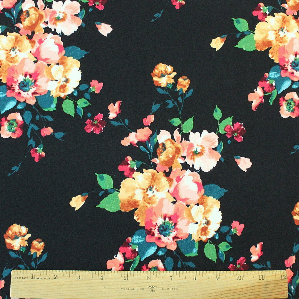 Black Coral Mustard Teal and Green Floral Double Brushed Poly Spandex Knit, 1 yard