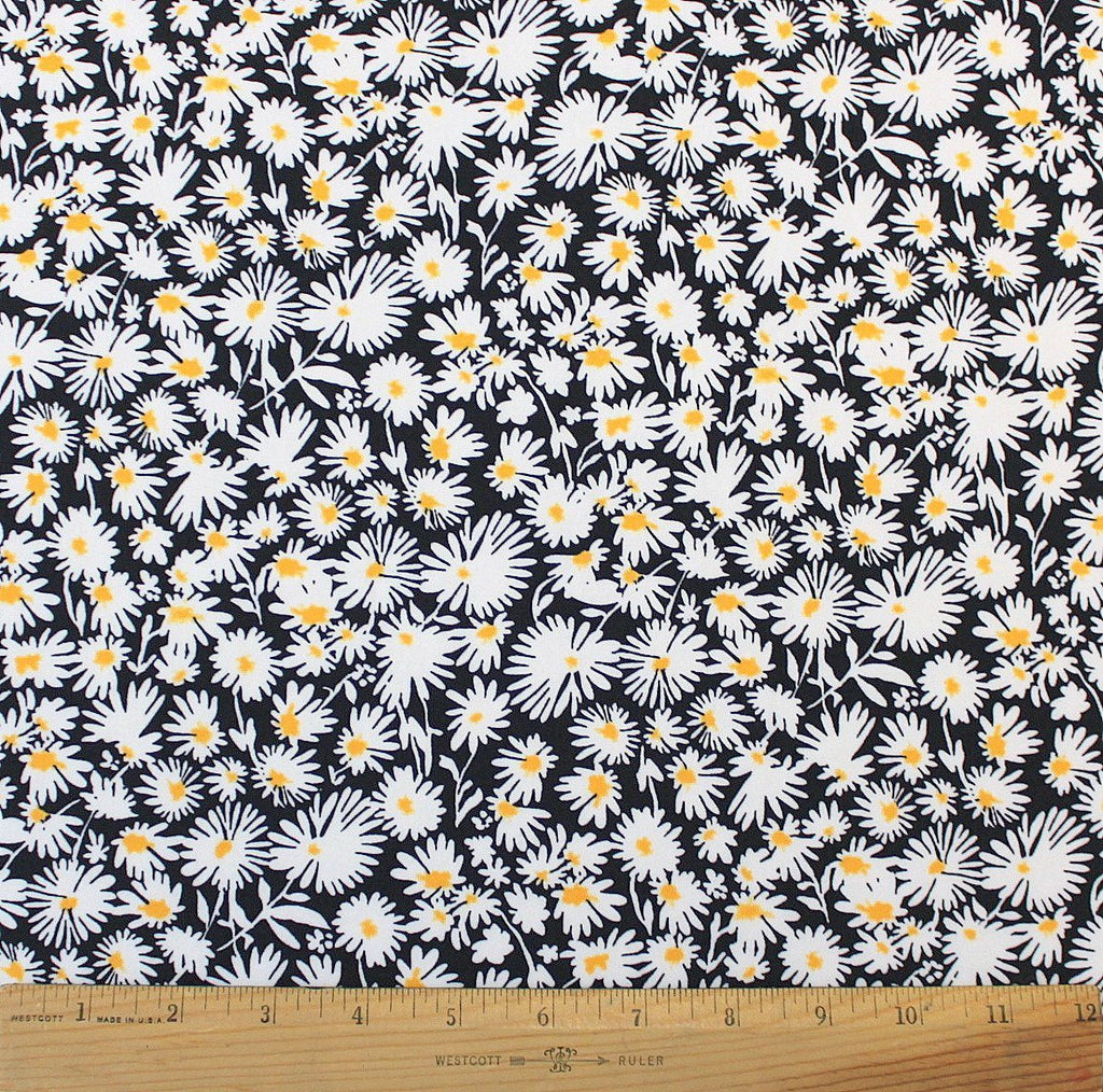 Black White and Yellow Daisy Floral Double Brushed Poly Spandex Knit, 1 yard