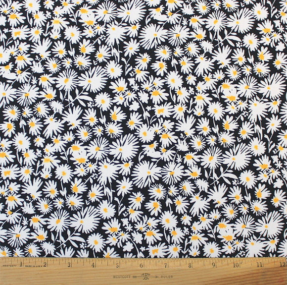 Black Yellow White Daisy Floral Fabric