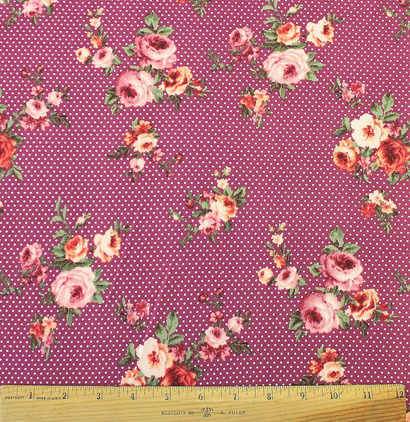 Berry Purple Coral and Green Pin Polka Dot Floral Double Brushed Poly Spandex Knit, 1 yard