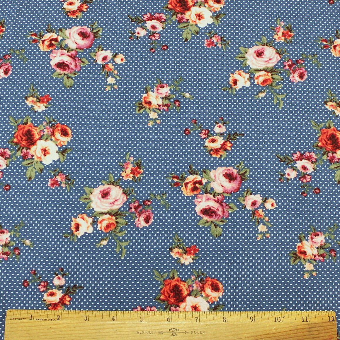 Blue Coral and Green Pin Polka Dot Floral Double Brushed Poly Spandex Knit, 1 yard