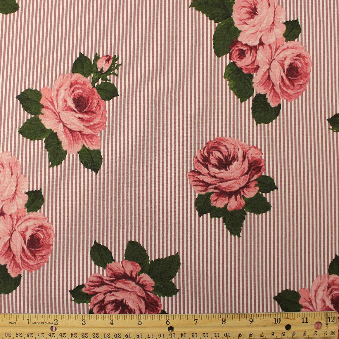 Mauve Pink and Green Vertical Pin Stripe Floral Double Brushed Poly, 1 Yard