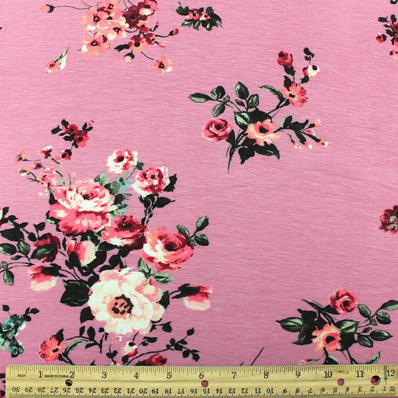Mauve Coral and Green Floral Rayon Spandex Jersey Knit Fabric, 1 Yard