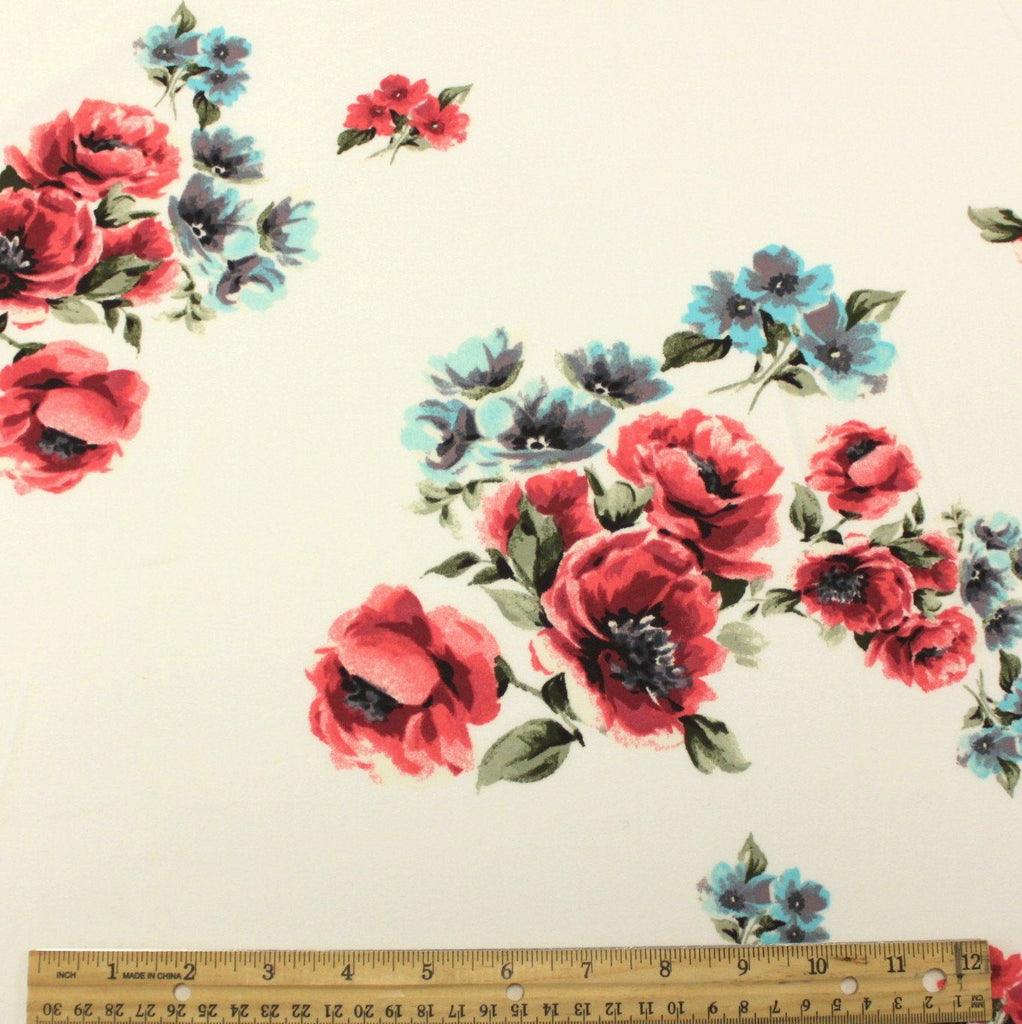 Off White Sage Pink Burgundy Blue and Grey Floral Double Brushed Poly Spandex Knit, 1 yard