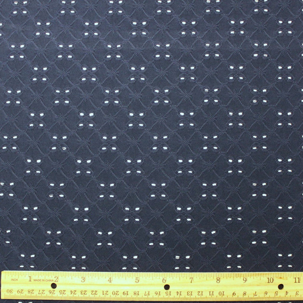 Navy Blue Eyelet Poly Spandex Knit, 1 yard