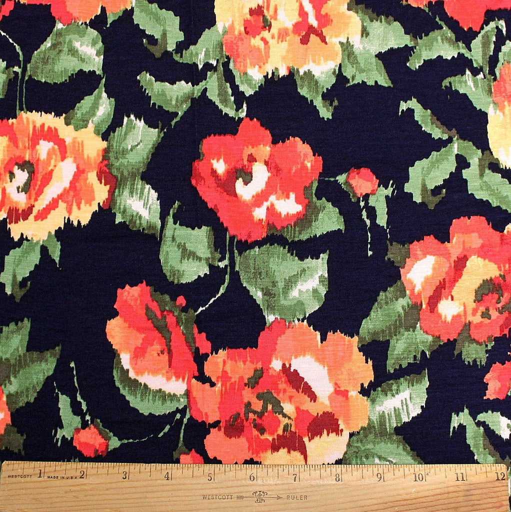 Navy Red Coral Peach and Green Abstract Floral Rayon Spandex Jersey, 1 Yard - Raspberry Creek Fabrics