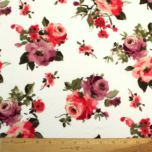 Ivory Plum Light Red and Olive Green Floral Double Brushed Poly Spandex Knit, 1 yard