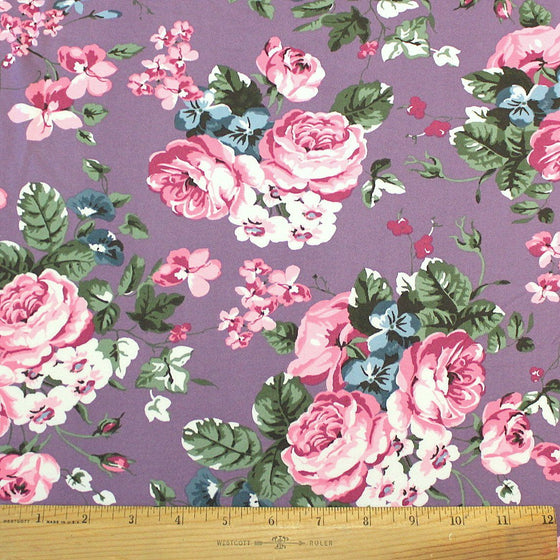 Dusty Purple Pink Blue and Green Floral Double Brushed Poly Spandex Knit, 1 yard