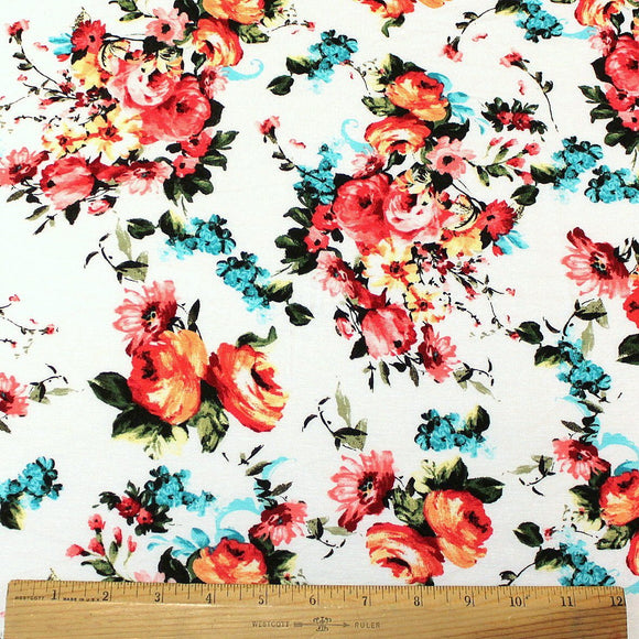 White Red Aqua Orange and Yellow Floral Rayon Spandex Jersey, 1 Yard