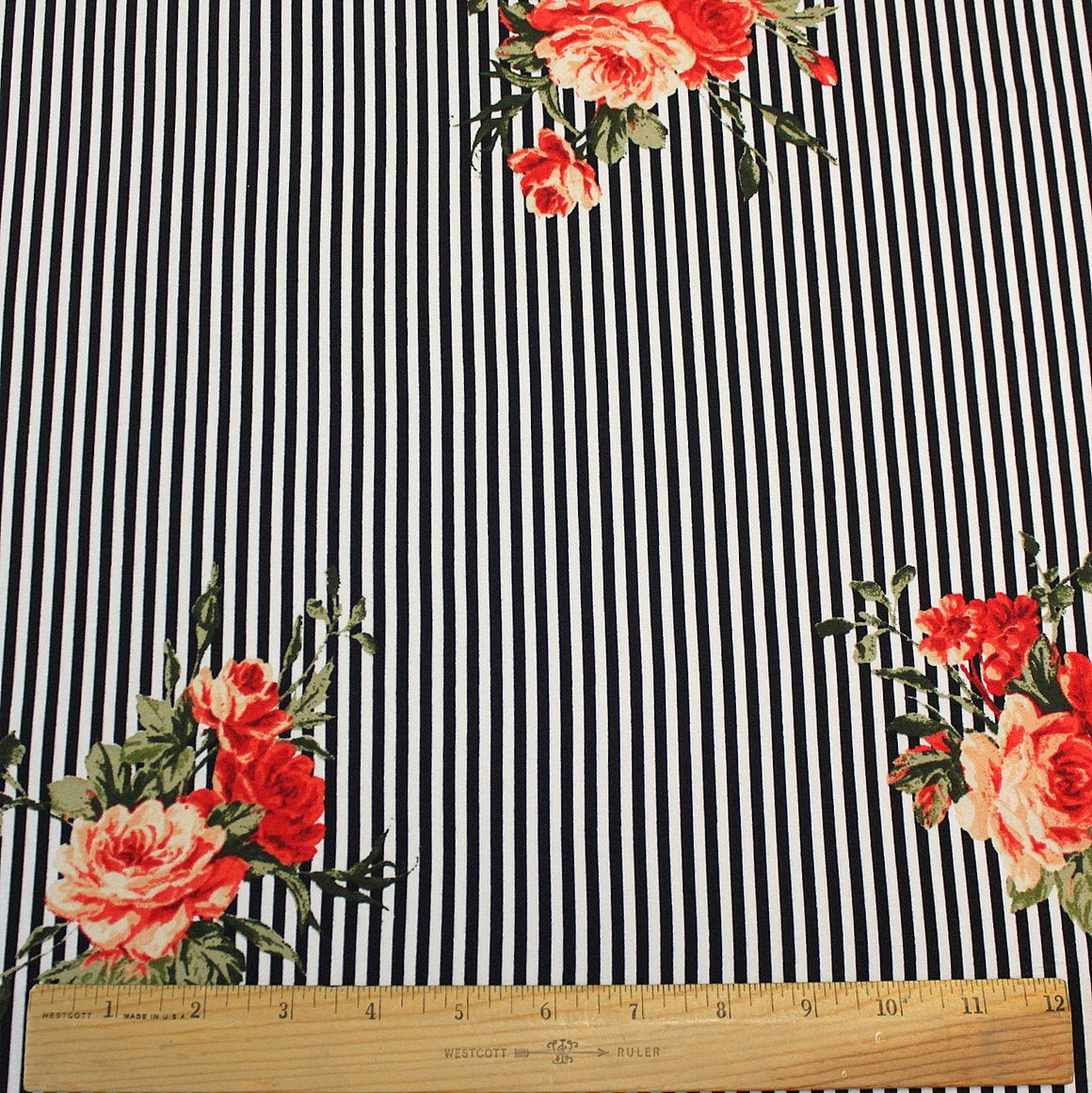 Black White Peach Red and Green Vertical Stripe Floral Double Brushed Poly, 1 Yard