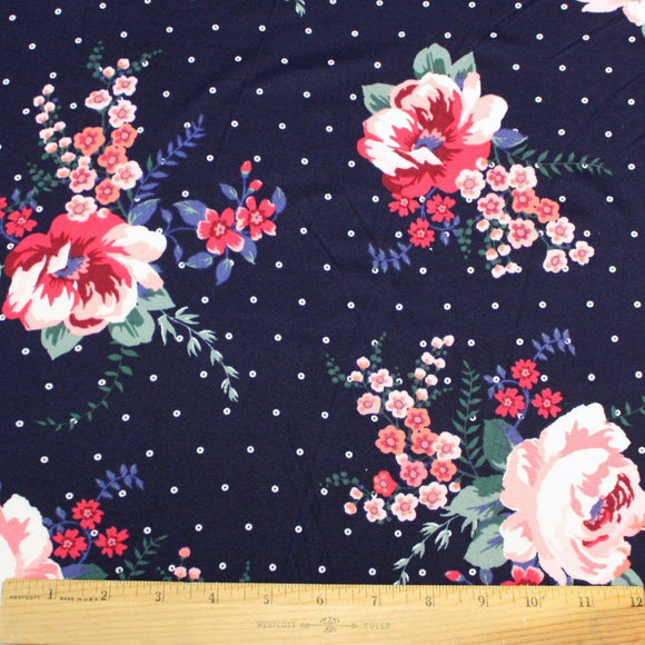 Navy Coral Green and Purple Floral Polka Dot Double Brushed Poly, 1 Yard