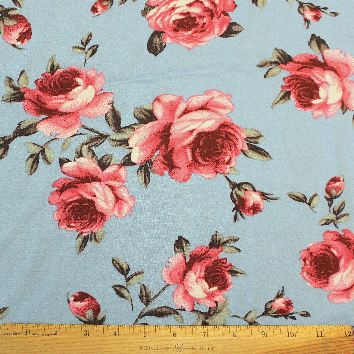 Dusty Blue Burgundy Salmon and Green Floral Rayon Challis, 1 yard