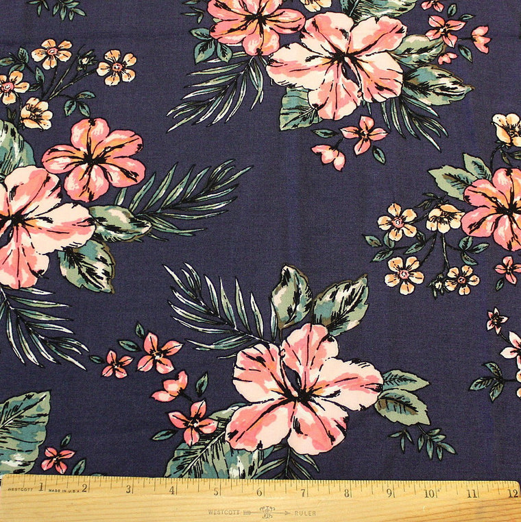 Navy Coral and Green Tropical Floral Rayon Challis, 1 yard
