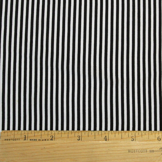 Black and White 1/8 Inch Vertical Stripe Rayon Challis, 1 yard - Raspberry Creek Fabrics