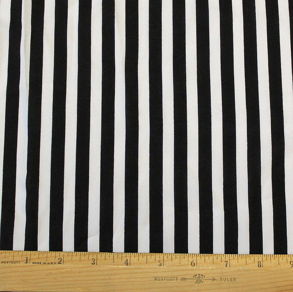 Black and White 1/2 Inch Vertical Stripe Rayon Challis, 1 yard