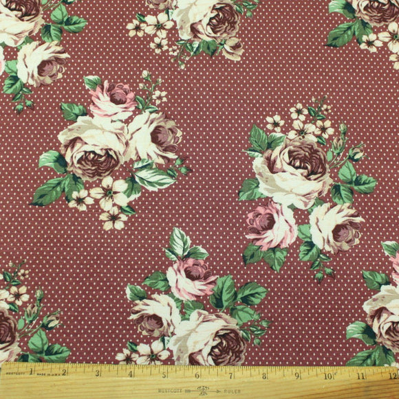 Deep Mauve Pink Cream and Green Polka Dot Floral Rayon Spandex Jersey, 1 Yard - Raspberry Creek Fabrics