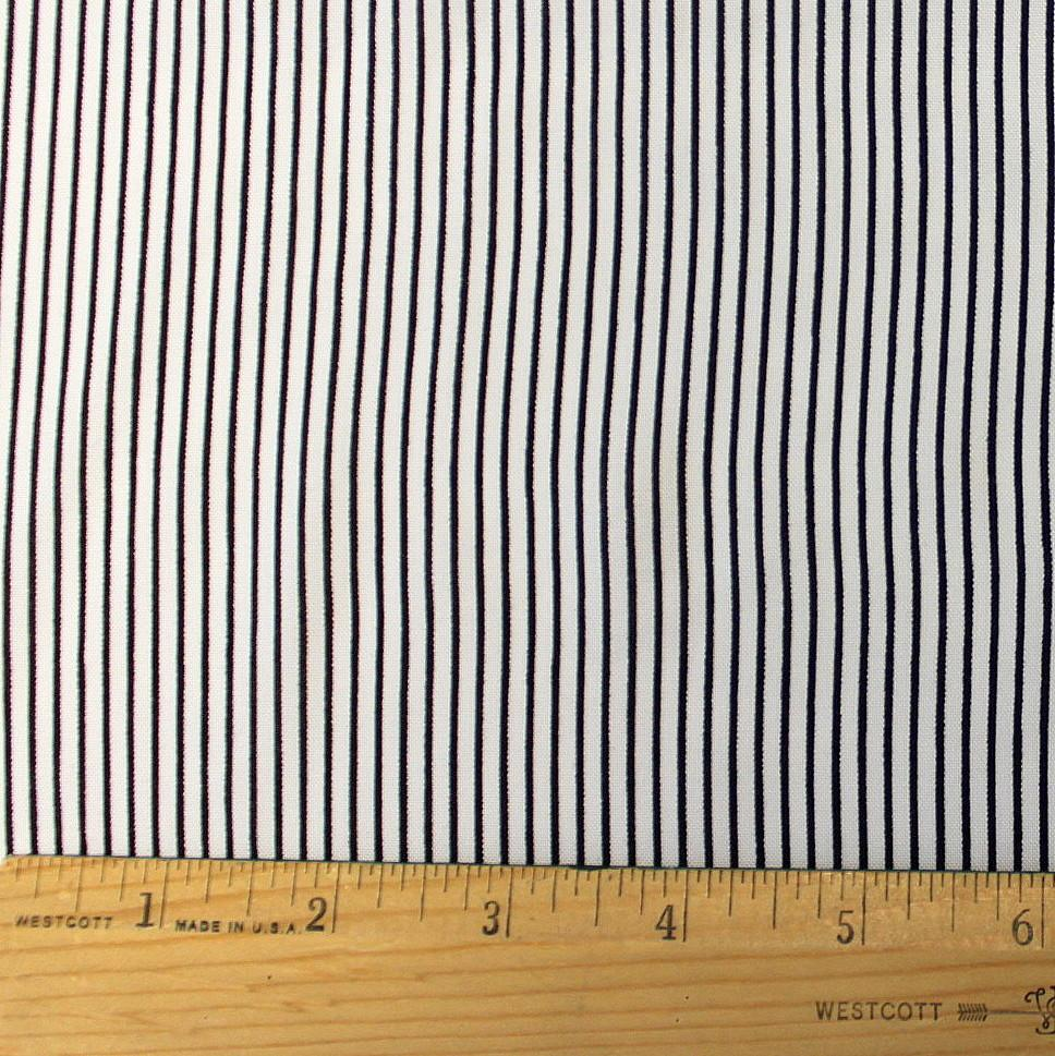 White and Black Vertical Reverse Stripe Rayon Challis, 1 yard