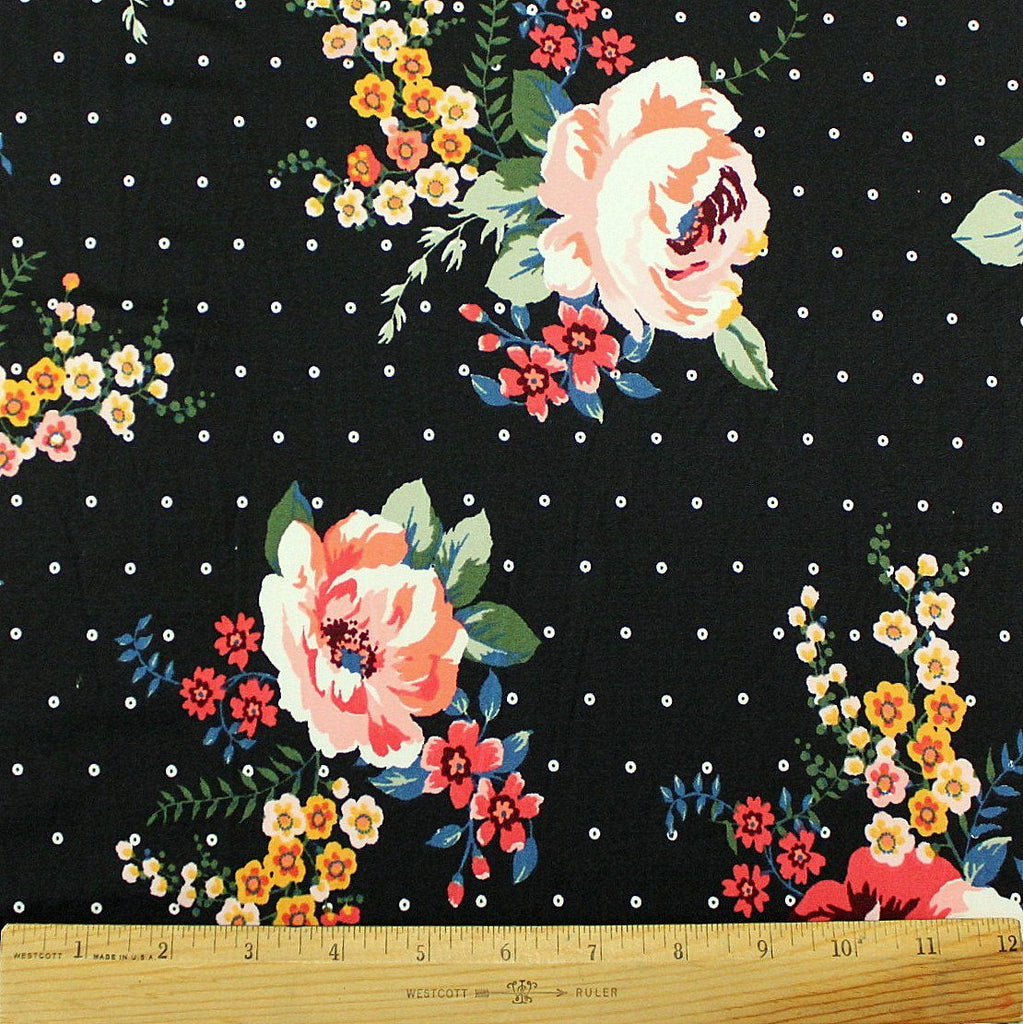 Black Coral Mustard and Blue Floral Polka Dot Double Brushed Poly, 1 Yard