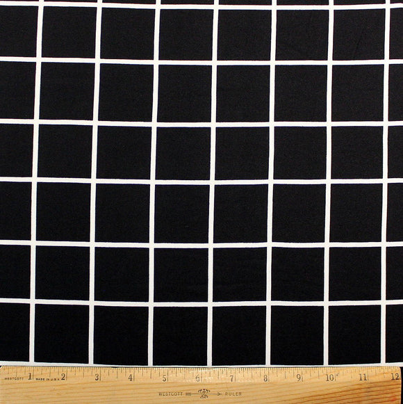 Black and White Plaid Brushed Poly Fabric