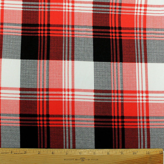 Red Black and White Plaid Double Brushed Poly Spandex Knit, 1 yard