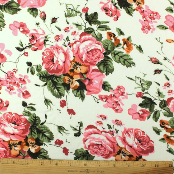Pink and Cream Floral Brushed Poly Fabric