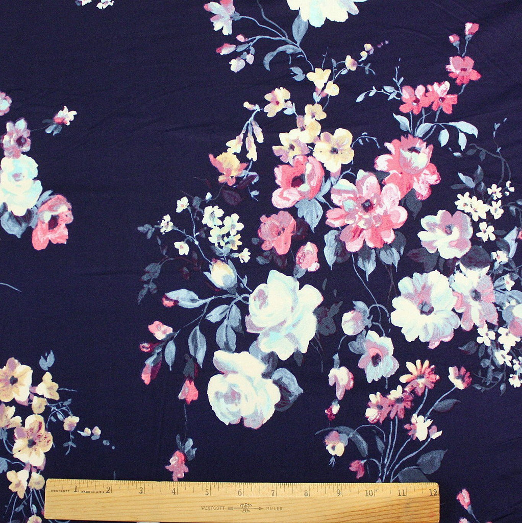 Navy Blue Fuchsia Cream and Purple Large Floral Double Brushed Poly Spandex Knit, 1 yard