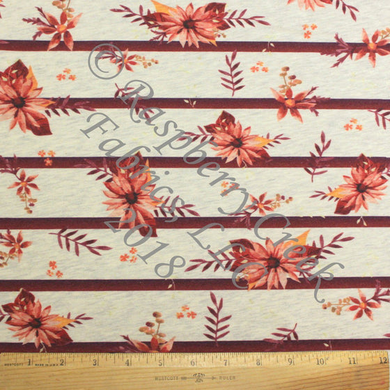 Burgundy Pink and Peach Fall Stripe Floral on Oatmeal 4 Way Stretch French Terry Knit Fabric, By Elise Peterson For CLUB Fabrics