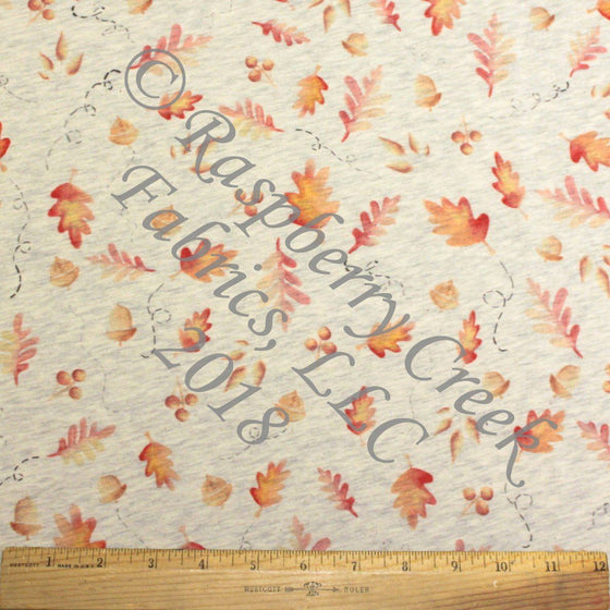 Red Orange and Grey Fall Acorns and Leaves on Oatmeal 4 Way Stretch French Terry Knit Fabric, By Elise Peterson For CLUB Fabrics