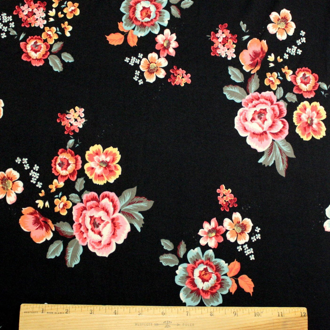 Black Pink Red Yellow and Sage Green Floral Double Brushed Poly Spandex Knit, 1 yard