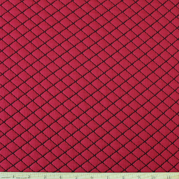 Burgundy and Black Diamond Quilted Jacquard Knit, 1 Yard